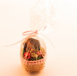 Wrapped Basket with multi colored Bunny