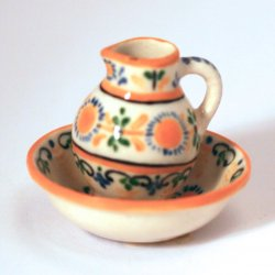 Majolica Earthenware Water Pitcher and Bowl