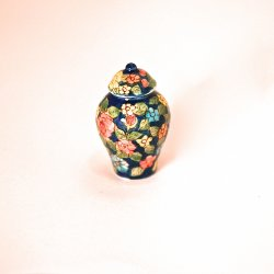 Blue Ginger Jar with Knob Top
